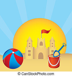 Sandcastle and ball vector - Sandcastle, ball, shovel, sun...