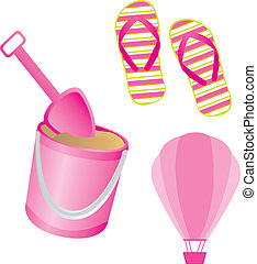 Pink flip flops, shovel and hot air balloon vector