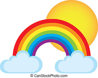 rainbow - colorful rainbow with clouds y sun isolated over...