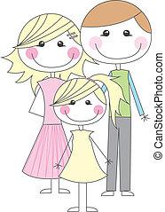 caricatura, família, Feliz
