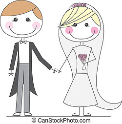 just married cartoons over white background vector