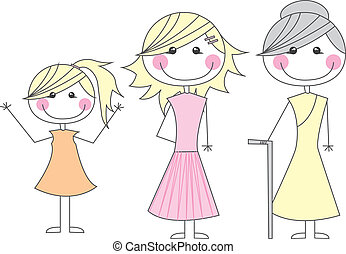 girl,mother and grandmother - cute girl, mother and...