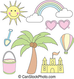summer cartoons elements over white background. vector