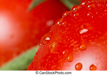 tomato closeup - macro of tomato covered with water drops
