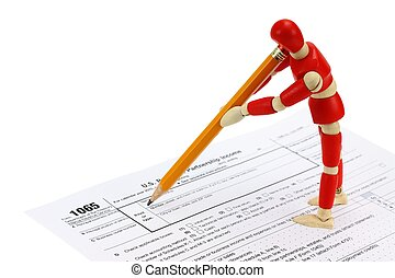 1065 Tax form - Wooden mannequin completing the 1065 Tax...