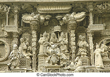 Chinese carvings on exterior of a temple