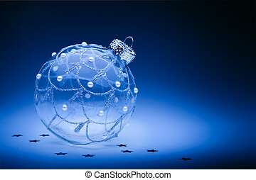 design christmas card with christmas ball on dark blue...