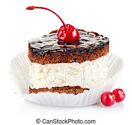 chocolate cake with cherry isolated on white background