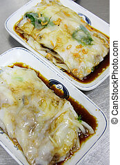 Steamed rice roll with different ingredients