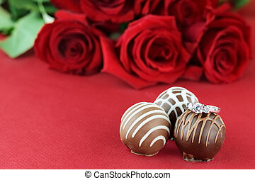 Engagement Ring and Chocolates - Diamond engagement sitting...
