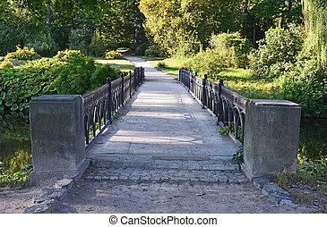 Old vintage park bridge in Alexandria, Ukraine