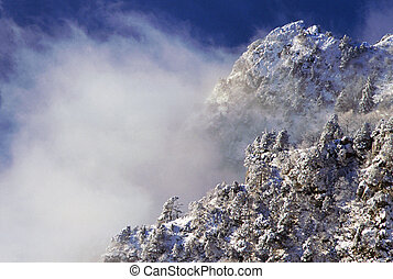 Snowy moutains, trees, and clouds - Snowy foothills, trees...