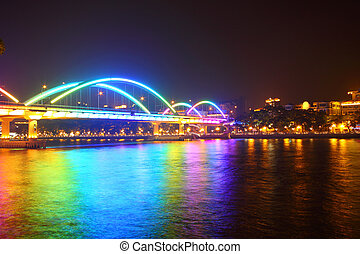Bridge at night in Guangzhou, China