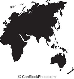silhouette of europe, asia, africa and oceania - black...