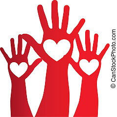 heart over hand - heart over red hand over white background....