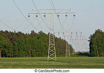 electrical powerlines at the dusk