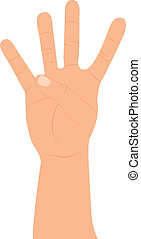 hand with four fingers up over white background vector