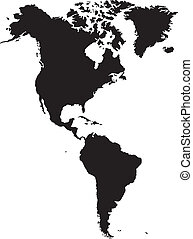 American continent - silhouette American continent isolated...