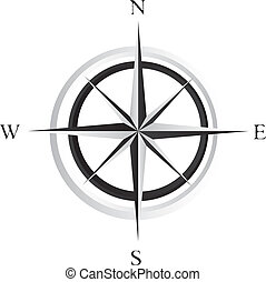 compass rose - black and white compass rose over white...
