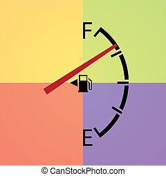gas gage isolated on a light multicolor background