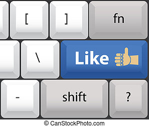 Keyboard with like button - illustration