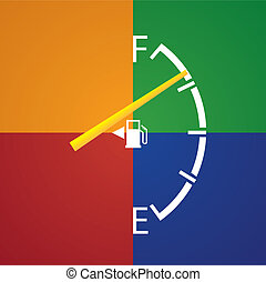 gas gage isolated on a dark multicolor background