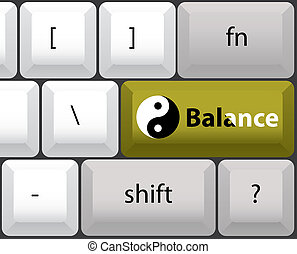 keyboard layout with yin yan balance button - illustration