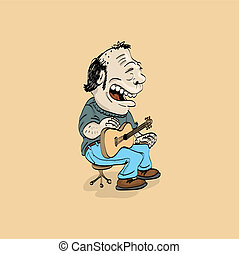 cartoon folk singer with guitar - illustration