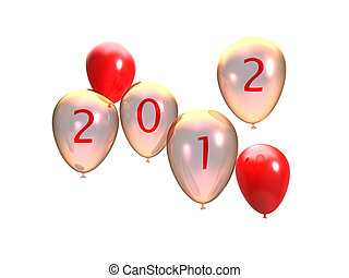 3d illustration of several balloons with 2012 written on it