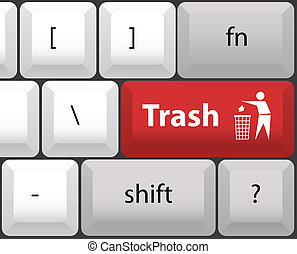 keyboard layout with trashcan button - illustration