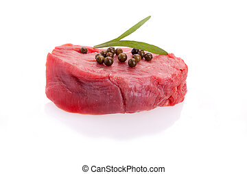 Raw Tenderloin With Green Pepper - Raw tenderloin decorated...