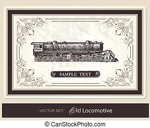 historical, trains - vector set