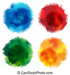 Watercolor Stains - Collection of Watercolor Stains on White...