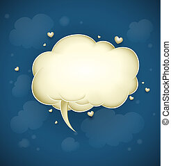 cloud with greeting message for valentines day vector...
