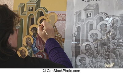 Orthodox icon Iconography The icon painter at work in the...