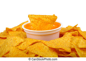 nachos and cheese sauce isolated on white background