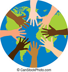 diversity over world over white background vector...