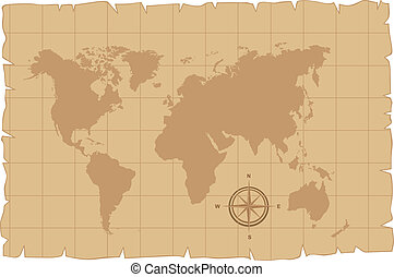 old map vector - old map over old paper with compass rose...
