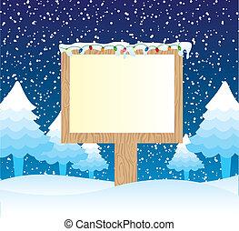 wooden sign over winter landscape. vector illustration
