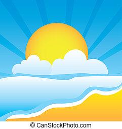 beach vector - cute beach with sea and sun vector...