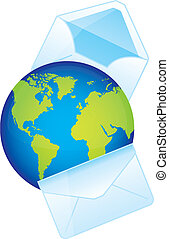 planet with envelope over white background. vector...