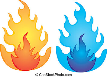 orange and blue fire over white background. vector...
