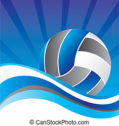 volleyball - volleball over blue background with wave vector...