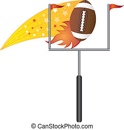 american football with goal post over white background...