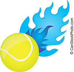 tennis ball - yellow tennis ball with blue fire over white...