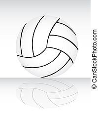 volleyball - white and black volleyball with shadow vector...
