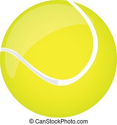 tennis ball - yellow tennis ball isolated over white...