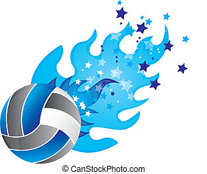 volleyball with fire and stars isolated vector illustration