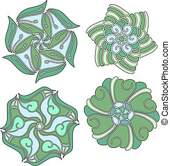 Green and blue vector ornaments