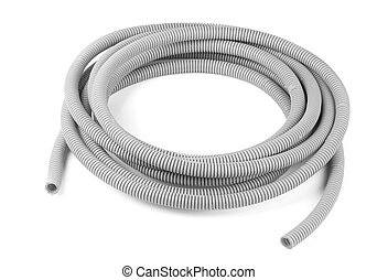 Corrugated tube - Gray plastic corrugated tube isolated on...